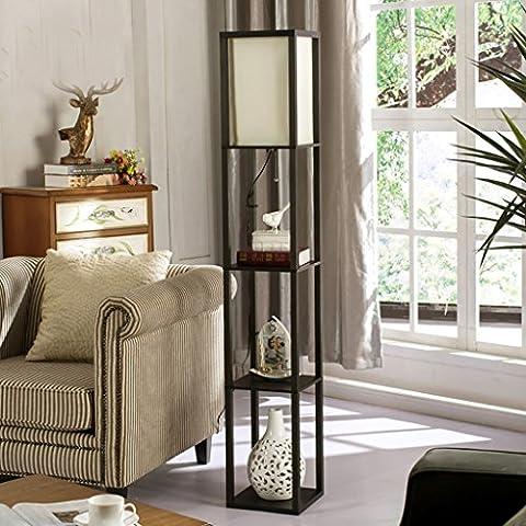 Moderna minimalista Nuevo chino del piso del estilo de madera de la lámpara de la sala de estudio dormitorio lámpara de escritorio creativa retro Lámpara de pie (de eficiencia energética A +) ( Color : Negro )