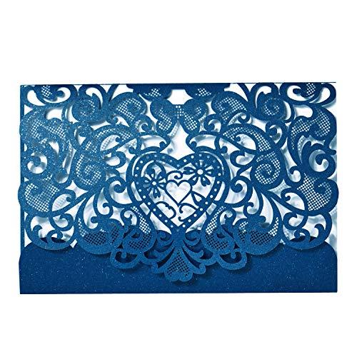 LONGBLE Hochzeit EinladungsKarten Glückwunsch Einladung Karten, 20 Stück Elegante Blume Spitze 3 in 1 [ Hohle Hülse + Leere Karte + Umschlag ] Hochzeitskarten - auch Für Geburtstag/Taufe blau