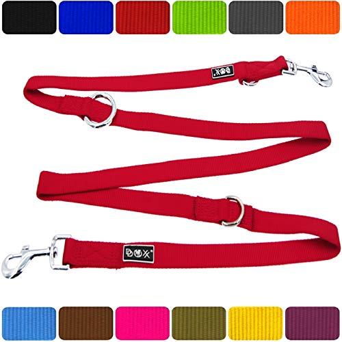 DDOXX Hundeleine Premium Nylon | 4fach verstellbar | für große, mittelgroße, mittlere & Kleine Hunde | Hundeleinen | Führleine | Doppelleine | Flexi ble Leine Hund | Rot, XS - 1,0 x 200 cm