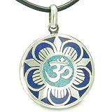 Amulett Antike OM und Magic Lotus Tibetische Symbol Mosaik Medaillon Anhänger auf Leder Schnur Halskette