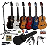Pack Guitare Classique 4/4 (Adulte) 7/8 3/4 1/2 1/4 (Enfant) + 8 Accessoires ~ Neuve & Garantie (3/4, Naturel)