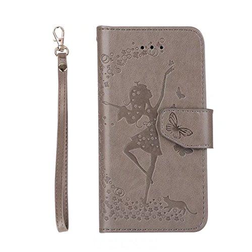EKINHUI Case Cover Abnehmbare 2 in 1 Crazy Horse Texture PU Ledertasche, Fairy Girl Embossed Pattern Flip Stand Case Tasche mit Lanyard & Card Cash Slots für iPhone 5s & SE ( Color : Black ) Gray