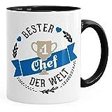 MoonWorks Kaffee-Tasse Bester Chef der Welt Geschenk für Chef Schwarz Unisize