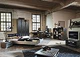 Schlafzimmer im Industrial-Print-/graphit-Dekor 3-trg. Kleiderschrank B: 136 cm, Bett B: 187 cm, 2 Nachtschränke B: je 55 cm