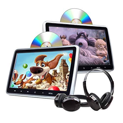 Car Kopfstütze DVD Player mit digitalem 10.1 zoll LCD Touch Button Video HDMI USB SD Anschluss und IR Headset Combo Drahtloses Spiel C1100A (No Disc) Twin Pack