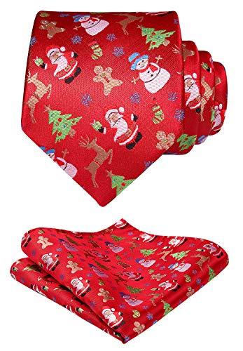 Hisdern Herren Weihnachten Krawatte Baum Elch Schneemann Weihnachtsmann Muster gewebt Party Krawatte & Einstecktuch Set