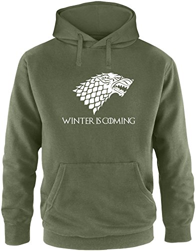 EZYshirt® Game of Thrones   Winter is coming   Schattenwolf Herren Hoodie Oliv/ Weiß