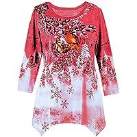 LILICAT☃ Ladies Damas Grandes con Estampado navideño Dobladillo de Manga Larga sin Mangas Talla Grande Invierno Festivo Cascada de Navidad Blusa con Dobladillo Irregular navideño