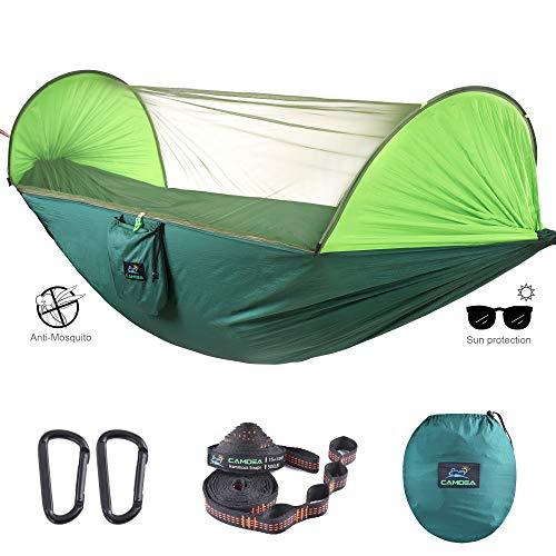 CAMDEA Camping-Hängematte mit Moskitonetz, Ultra-leichte tragbare Hängematte, Einzel- und Doppelhängematte mit Insektennetz, Winddichte Hängematte Zeltschaukel für Schlafen, Reisen, Outdoor - Schlafen Komplex