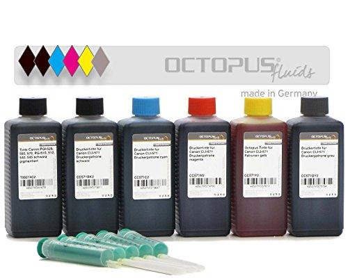 Preisvergleich Produktbild 6x 100ml Octopus Fluids® Druckertinte für Canon PGI-570, CLI-571 Druckerpatronen für Pixma MG 7700, MG 7750, MG 7751, MG 7752, MG 7753, TS 8050, TS 8051, TS 8052, TS 8053, TS 9000, TS 9050, TS 9055 (kein OEM)