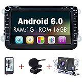 Junsun 8 Pulgadas Reproductor de DVD 1080P HD Navegador GPS para Coche con Bluetooth FM Micrófono para VW GOLF 4 5 Polo Bora CC JETTA PASSAT Tiguan SKODA (Androide 8 Pulgadas)