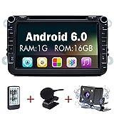 Junsun 8 Zoll Android 6.0 Autoradio DVD Player 2 Din mit GPS Navigation unterstützt WiFi Funktion + Bluetooth + Anschlüsse für Rückfahrkamera, Lenkradfernbedienung und Subwoofer Freisprechfunktion & Musikwiedergabe für VW SEAT SKODA mit GPS Navigation - 1G 16GB