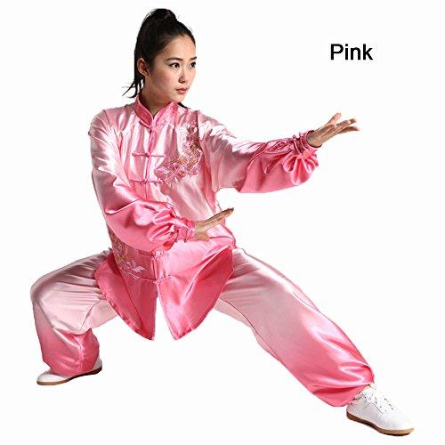 ZooBoo Tai-Chi Uniform Damen Anzug - Chinesische Kampfkunst Taiji Wushu Wing Chun Shaolin Kung Fu Training Kleidung Farbverlauf Farbübergang Lange Ärmel für Damen Frauen Anfänger Sportler Trainer - Viskose Seide und Satin (Seide Chinesisches Kung Fu Kleidung)