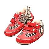 Auntwhale Baby Gummischuhe PU Leder Prewalkers Säuglinge Newborn Flats Sneaker 13.5# Rot