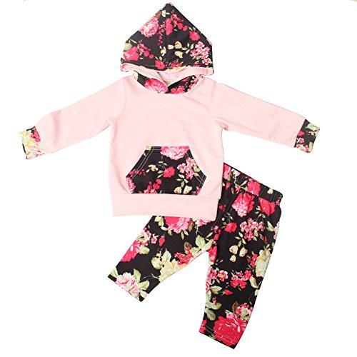 Bestanx Baby Floral Trainingsanzüge Kleinkinder Mädchen 2PCS Hoodies Top + Hosen Kleidung Outfits Floral Cotton-hose