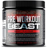 Pre Workout Beast (Berry Flavour) - Hardcore pre-Workout Supplement with Creatine, Caffeine, Beta-Alanine and Glutamine (Regular - 306 Grams | 40 Servings)