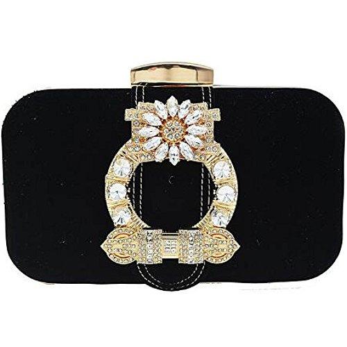 Damen Abendtaschen Luxuriöse Strass Clutch Corduret Bankett Paket Schulter Messenger Bag Black