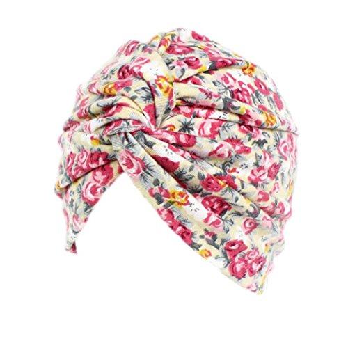 Drucken Seide Mütze (Mützen Transer® Damen Indien Krebs Chemo Hygiene Hut Falten Baumwolle Stretch Turban Schwarz Rosa Drucken Marine Blumen Mützen (A))