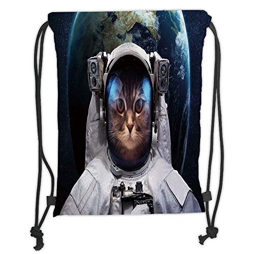 Drawstring Backpacks Bags,Space Cat,Astronaut Cosmonaut Suit Kitty with Planet Earth Backdrop in Galaxy,White Green Dark Blue Soft Satin,5 Liter Capacity,Adjustable String Closure,