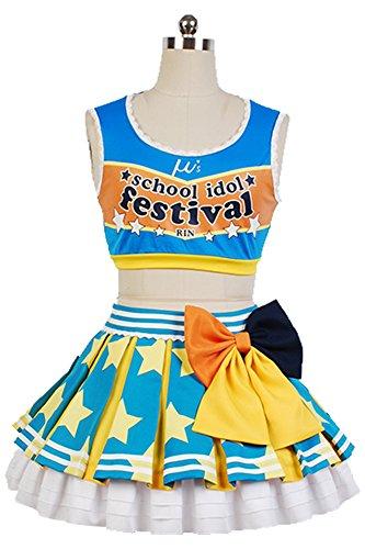 Fuman Love Live Cheerleader Schulmädchen Uniform Connichi Cosplay Kostüm Blau und weiß (Für Erwachsene Cheerleader Uniformen)