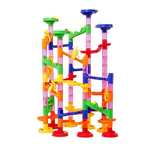 EisEyen 105 Stück Coaster Kugelbahn Murmelbahn Konstruktionsbausteine mit 10 Glasmurmeln Kinder Spielzeug