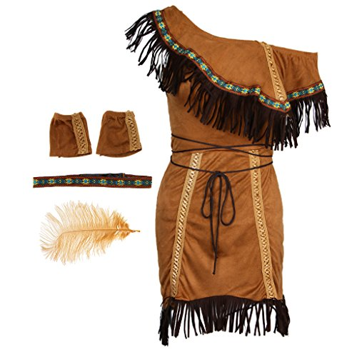 Baoblaze Braun Indianerin Kostüm Set Wstern Kostüm Cosplay Kleidung Prizessin Kostüm, für Indianische Themen Party - ()