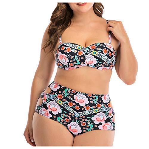 IHEHUA Bikini Große Größen Damen Push up Sexy Bademode mit Gepolstert Drucken Strandbikini Rückenfrei Verstellbarem Schulterriemen Swimsuit High Waist Aushöhlen Beachwear(A-Schwarz,44) -