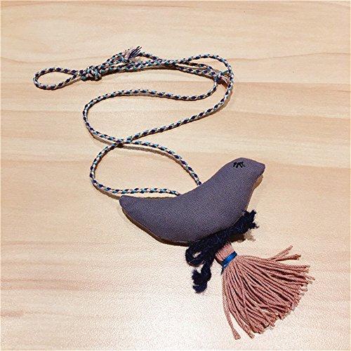 Mode Kleines Mädchen Stoff Vogel Anhänger Halskette Schmuck Sammlungen Charm Halskette Grau
