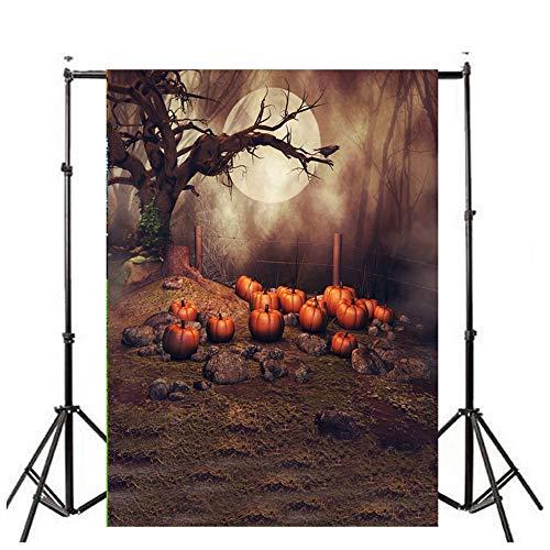 (iYmitz Halloween Kulissen Kürbis Vinyl 3x5FT Laterne Hintergrund Fotografie Studio(K,90cmx150cm))