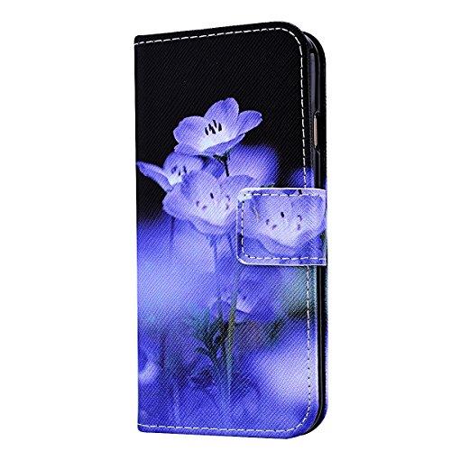 SMART LEGEND iPhone 6S Lederhülle, iPhone 6 4.7 Zoll Ledertasche Brieftasche Hülle Klapphülle Schutzhülle Gemalt Muster Premium Flip Leder Schale Wallet Case Folio Tasche mit Handschlaufe Standfunktio Blume