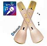 Microfono wireless portatile e altoparlante, Monodeal K088 Bluetooth 4.1 palmare microfono wireless per il karaoke Smule Sing, Youtube, iPhone Android Smartphone e PC - Gold immagine