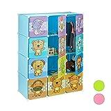 Relaxdays Steckregal Kinderzimmer, Tiermotive, Jungen, Türen, Kleiderstangen, Kunststoff Kleiderschrank, 145x110cm, blau