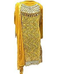 Aryan Fashion Women's Georgette Semi Sticthceds Salwar Suit (Fashion Aryan_=120_10716_ Yellow Free Size)