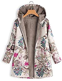 Edited Damen Winter Mantel Mit Kapuze Jacket Langarm Floral Printed Jacket  Reißverschluss Winterjacke Beiläufig Outwear f594605e48