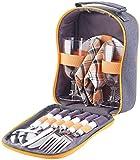 PEARL Picknicktasche: Picknick-Set für 2 Personen: Gläser, Servietten, Teller, Besteck (Picknick-Geschirr-Set)