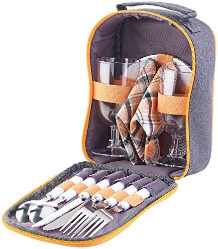 PEARL Picknick Geschirr: Picknick-Set für 2 Personen: Gläser, Servietten, Teller, Besteck (Picknick Geschirr Set)
