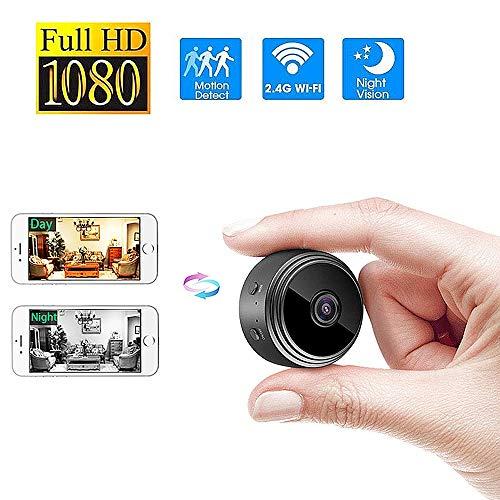 TONGTONG Wireless WiFi HD-Kamera 1080P klein Tragbare Überwachungskamera mit Remote-Netzwerküberwachung Nachtsicht Bewegungserkennung Doppelter Passwortschutz
