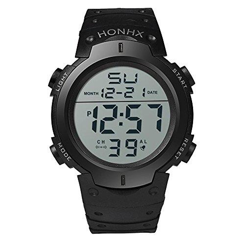 Sonnena Männer Armbanduhren, Herren Sports Digitaluhren Gummiband Armbanduhren Klassik Digital LED Uhr Herrenuhr Outdoor Outdoor Chronograph Handgelenk Uhr (Schwarz)