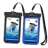 MoKo Wasserdichte Hülle - 2X Beachbag mit Halsband/Armband für iPhone 7 SE 6 6S 7 Plus, Samsung Galaxy S5 S6 S7 J5 A5, bis zu 5.7 Zoll Smartphone, Schutzhülle für Strand, Outdoor - IPX8, Schwarz/Blau