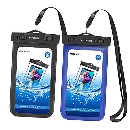 MoKo Wasserdichte Hülle - 2x Beachbag mit Halsband/Armband für iPhone 7 SE 6 6S 7 Plus, Samsung Galaxy S5 S6 S7 J5 A5, bis zu 5.7 Zoll Smartphone, Schutzhülle für Strand, Outdoor - IPX8, Schwarz/Blau (Nokia At&t Windows Phone)