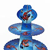 Trimming Shop, Cupcake-Ständer, Etagere, 3-stöckig, runder Turm aus Karton, für Kinder-Partys und Veranstaltungen spiderman - 3