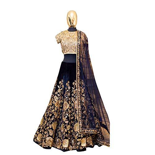 Nette Indische Frauen Kostüm - Indische Braut Heavy Velvet lehenga choli Dream Exporter 1134 - blau -