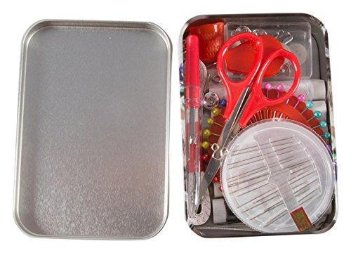 Kleiber Nähset 70PC Tin-Scissor Print, Metall, braun, 11x 8x 3cm