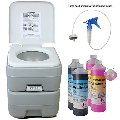 BB Sport Campingtoilette mit Füllstandsanzeige und Entlüftungsventil - Optional erhältlich: Reinigungszubehör sowie Sanitärflüssigkeiten, Campingtoiletten Varianten:WC + 2 x 2L + Spritze