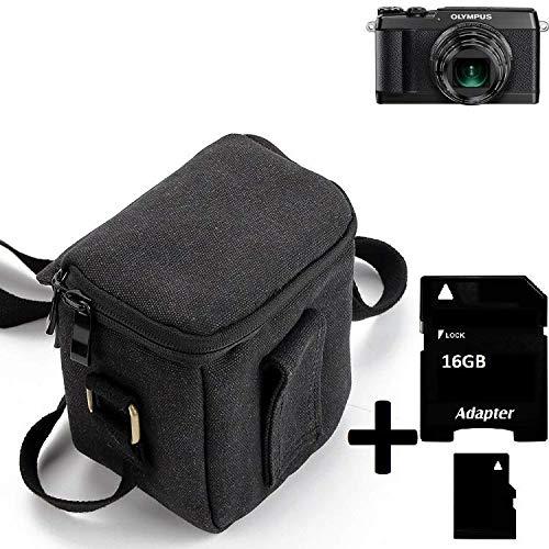 K-S-Trade® Umhängetasche Für -Olympus Stylus SH-2- Schulter Tasche Tragetasche Kameratasche Fototasche + 16GB Speicherkarte Maße: 12cm X 12cm X 7cm Schwarz Schutzhülle Bag Zubehörtasche (Kameratasche Für Olympus Stylus)