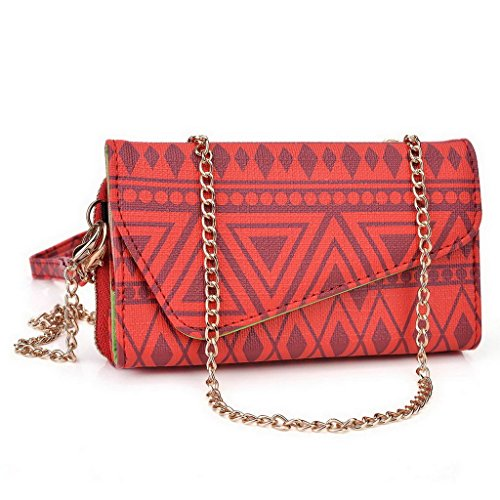 Kroo Pochette/étui style tribal urbain pour Alcatel OneTouch Hero 2 +/Pop Mega Multicolore - Brun Multicolore - rouge