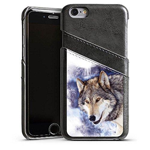 Apple iPhone 5 Housse Outdoor Étui militaire Coque Neige Loup Chien Étui en cuir gris