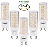 LEDGLE 6W G9 LED Lampen, ersetzt 60W Halogenlampen, Flimmern Nicht/Warm Weiß/Nicht Dimmbar/54LEDS/420LM/2800K, 5Pcs