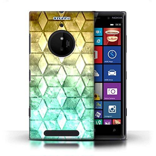 Kobalt® Imprimé Etui / Coque pour Nokia Lumia 830 / Vert/Violet conception / Série Cubes colorés Jaun/Vert