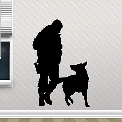 Geiqianjiumai Polizisten und Polizeistation Hund Wandtattoos Design Wandkunst Schlafzimmer Dekoration entfernbare Wandaufkleber Dekoration 58X38CM